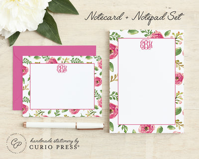 Coral Monogram: Flat Card + Notepad Set - Curio Press