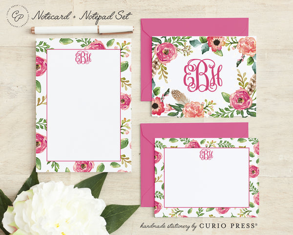 Coral Monogram: Folded + Flat + Notepad Set - Curio Press