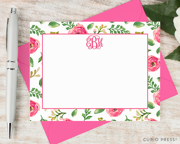 Coral Monogram: Flat Card Set - Curio Press