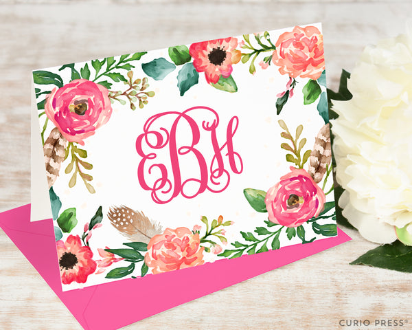 Coral Monogram: Folded Card Set - Curio Press
