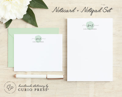 Delicate Monogram: Flat Card + Notepad Set - Curio Press
