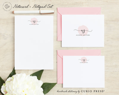 Delicate Monogram: Folded + Flat + Notepad Set - Curio Press