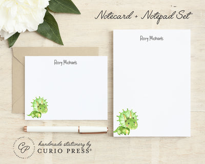 Dinosaur 2-Piece Set: Flat Card + Notepad Set - Curio Press