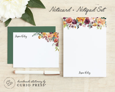Divine Florals: Flat Card + Notepad Set - Curio Press