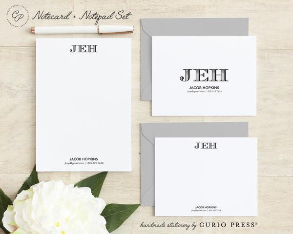 Engraved Monogram 3-Piece Set: Flat + Folded Cards + Notepad - Curio Press