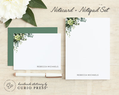 Eucalyptus 2-Piece Set: Flat Card + Notepad Set - Curio Press