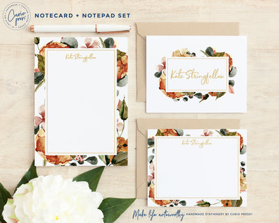 Fall Tones 3-Piece Set: Folded + Flat + Notepad Set