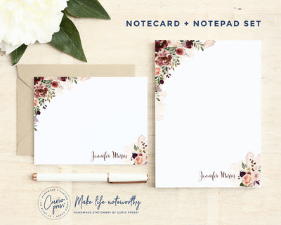 Figs and Florals 2-Piece Set: Flat Card + Notepad Set