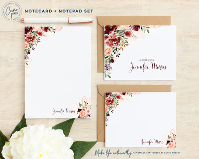 Figs and Florals 3-Piece Set: Folded + Flat + Notepad Set