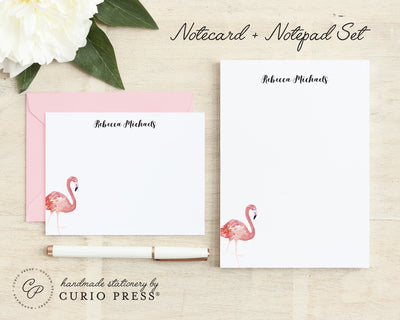 Flamingo: Flat Card + Notepad Set - Curio Press
