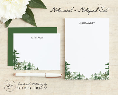 Forest: Flat Card + Notepad Set - Curio Press