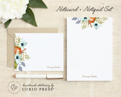 Fruit Blooms: Flat Card + Notepad Set - Curio Press