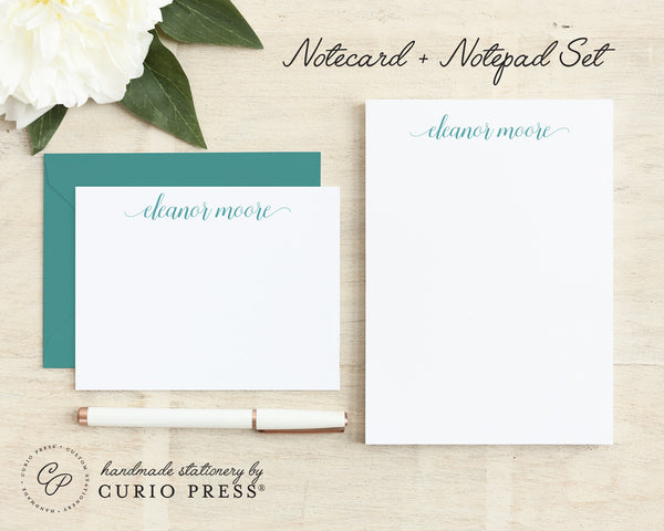 Graceful Script: Flat Card + Notepad Set - Curio Press