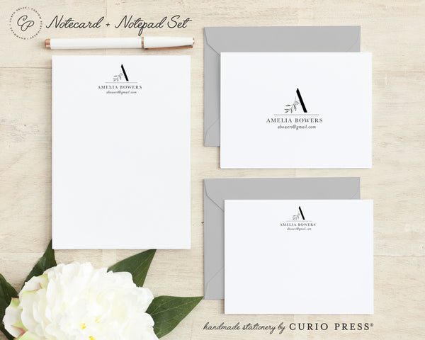 Haute Monogram: Folded + Flat + Notepad Set - Curio Press