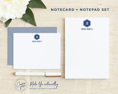 Hexagon Monogram 2-Piece Set: Flat Card + Notepad Set