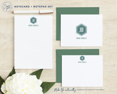 Hexagon Monogram 3-Piece Set: Folded + Flat + Notepad Set