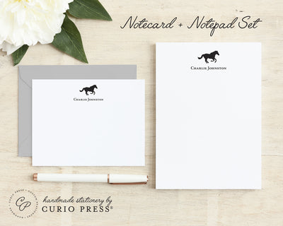Horse: Flat Card + Notepad Set - Curio Press