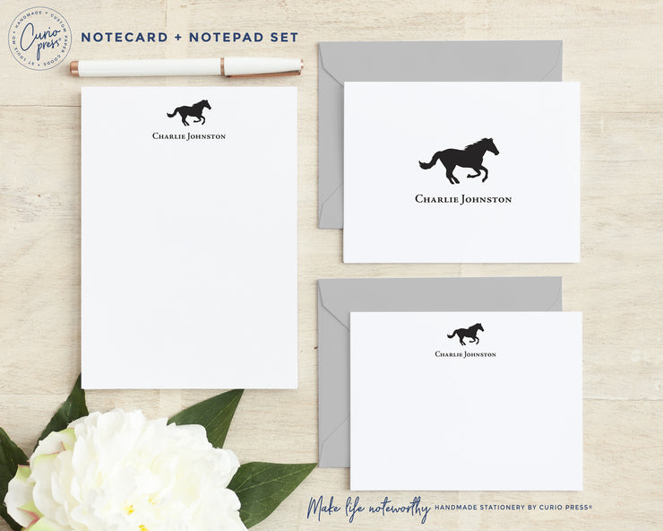 Horse: Folded + Flat + Notepad Set