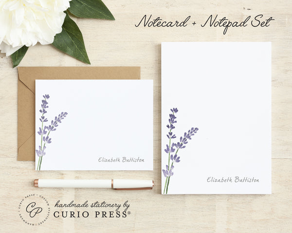 Lavender: Folded Card + Notepad Set - Curio Press