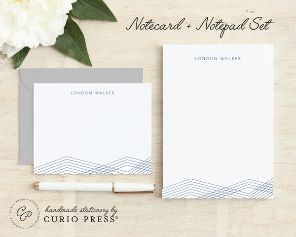 Lines: Flat Card + Notepad Set - Curio Press