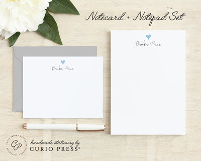 Lovely Heart: Flat Card + Notepad Set - Curio Press
