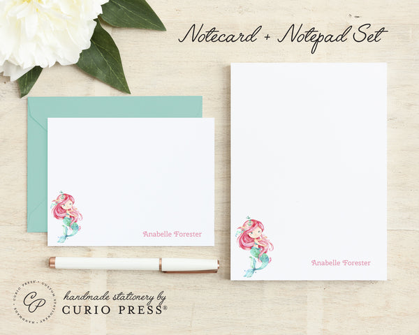 Mermaid: Flat Card + Notepad Set - Curio Press