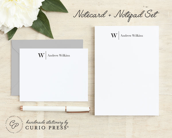 Modern Monogram: Flat Card + Notepad Set