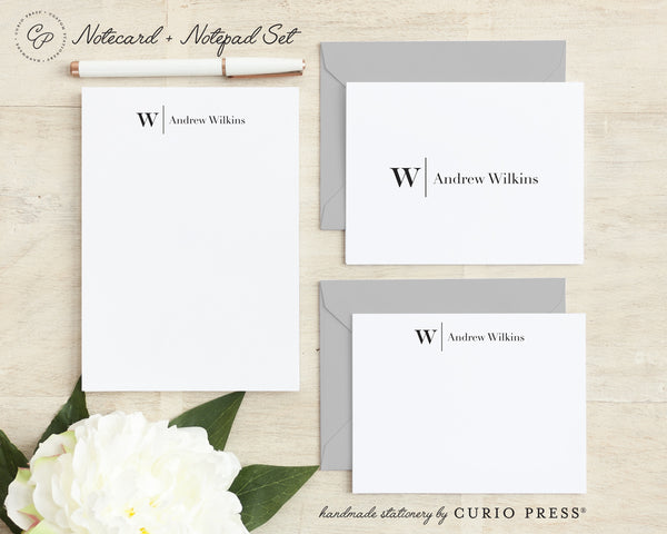 Modern Monogram: Folded + Flat + Notepad Set