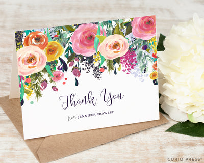 Multi Flower Thank You: Folded Card Set - Curio Press