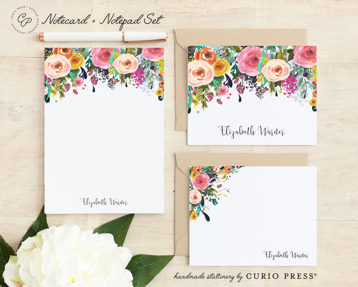 Multi Flower: Folded + Flat + Notepad Set - Curio Press