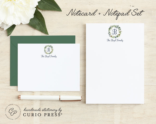 Navy Monogram: Flat Card + Notepad Set