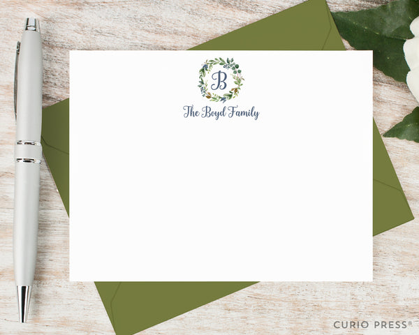 Navy Monogram: Flat Card Set - Curio Press