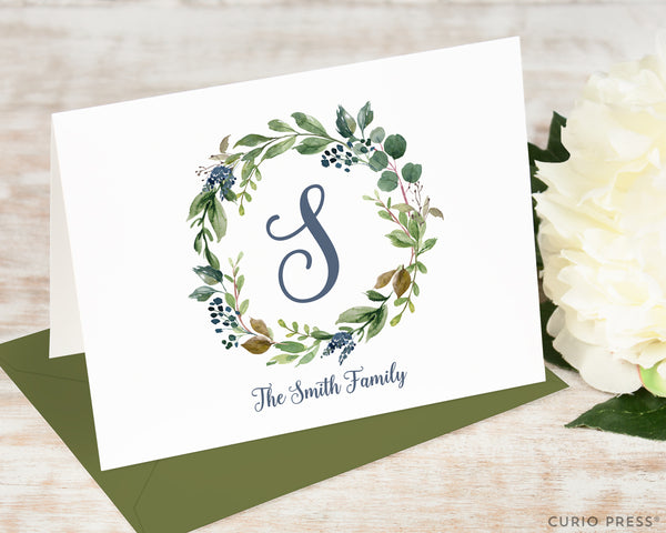 Navy Monogram: Folded Card Set - Curio Press
