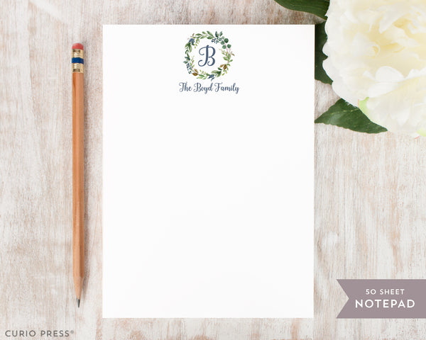 Navy Monogram: Notepad