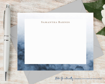 Navy Ombre: Flat Card Set