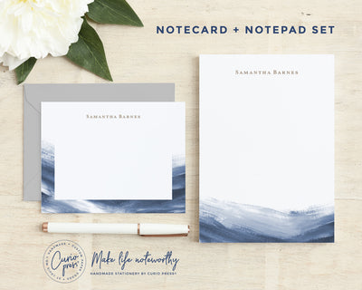 Navy Splash 2-Piece Set: Flat Card + Notepad Set