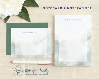 Ocean Waves 2-Piece Set: Flat Card + Notepad Set