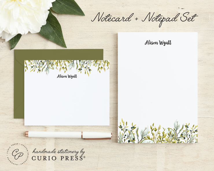 Olive Leaves: Flat Card + Notepad Set - Curio Press