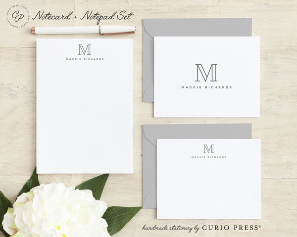 Outline Monogram: Folded + Flat + Notepad Set
