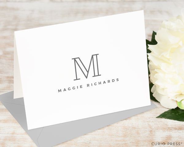 Outline Monogram: Folded Card Set