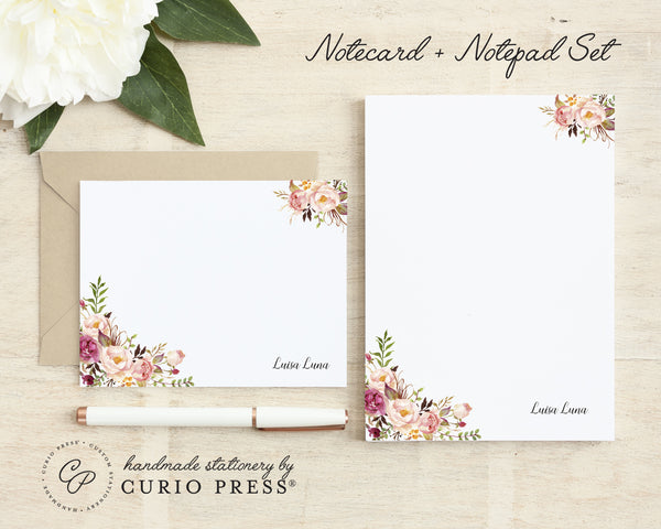 Painted Florals I: Flat Card + Notepad Set