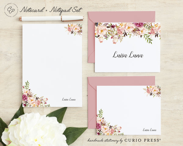 Painted Florals I: Folded + Flat + Notepad Set