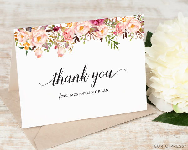 Painted Florals I Thank You: Folded Card Set