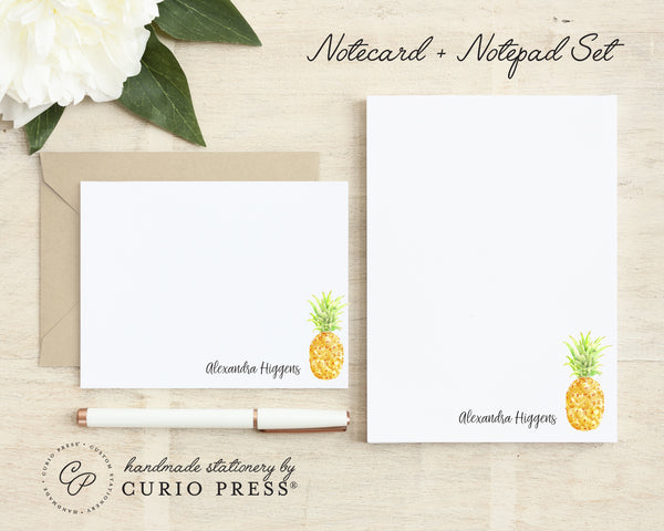 Painted Pineapple: Flat Card + Notepad Set