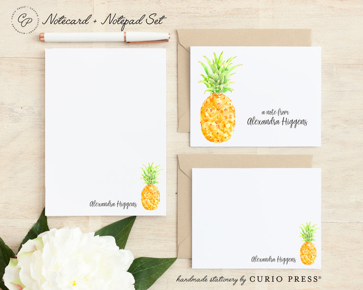 Painted Pineapple: Folded + Flat + Notepad Set