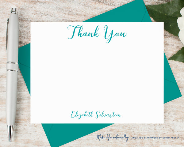 Peony Script Thank You: Flat Card Set