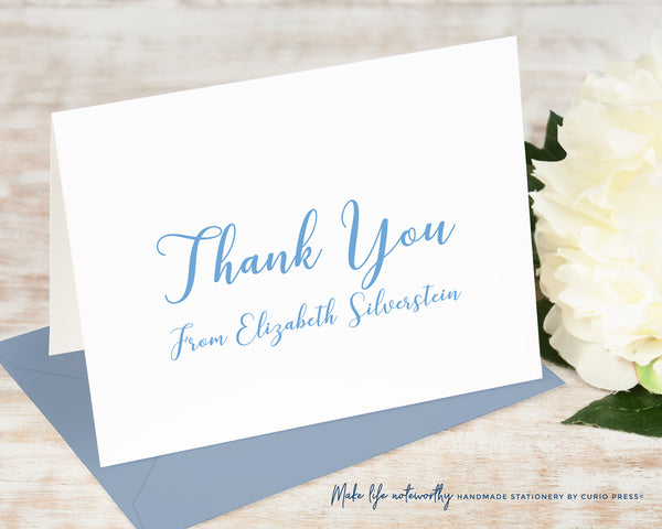 Peony Script Thank You: Folded Card Set