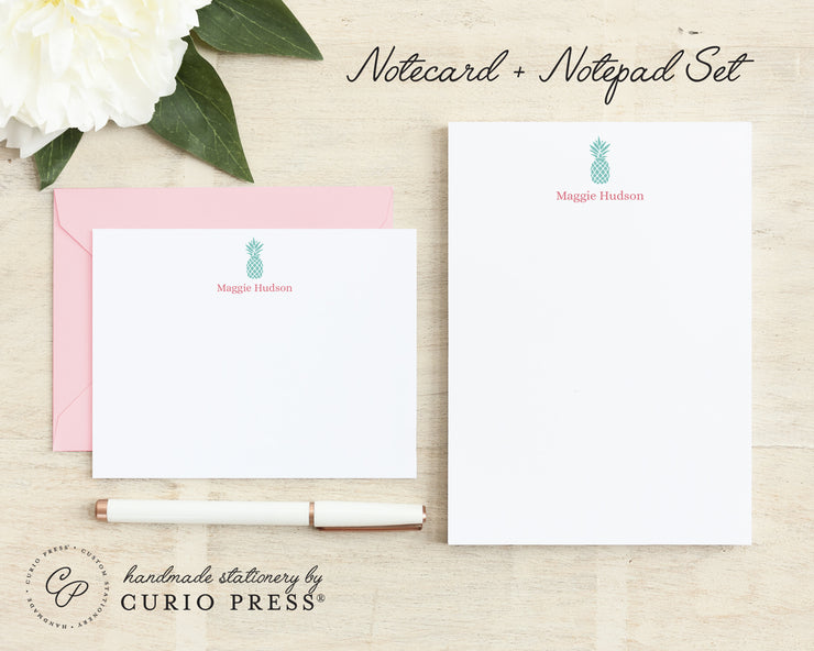 Pineapple Silhouette: Flat Card + Notepad Set