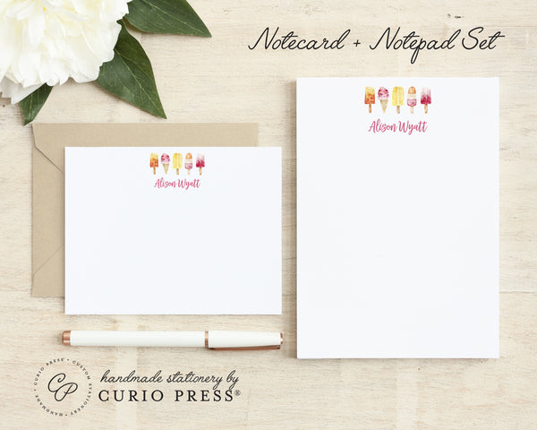 Popsicles: Flat Card + Notepad Set