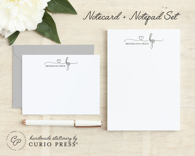 Precious Monogram: Flat Card + Notepad Set